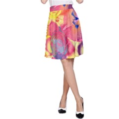 Pop Art Roses A Line Skirt