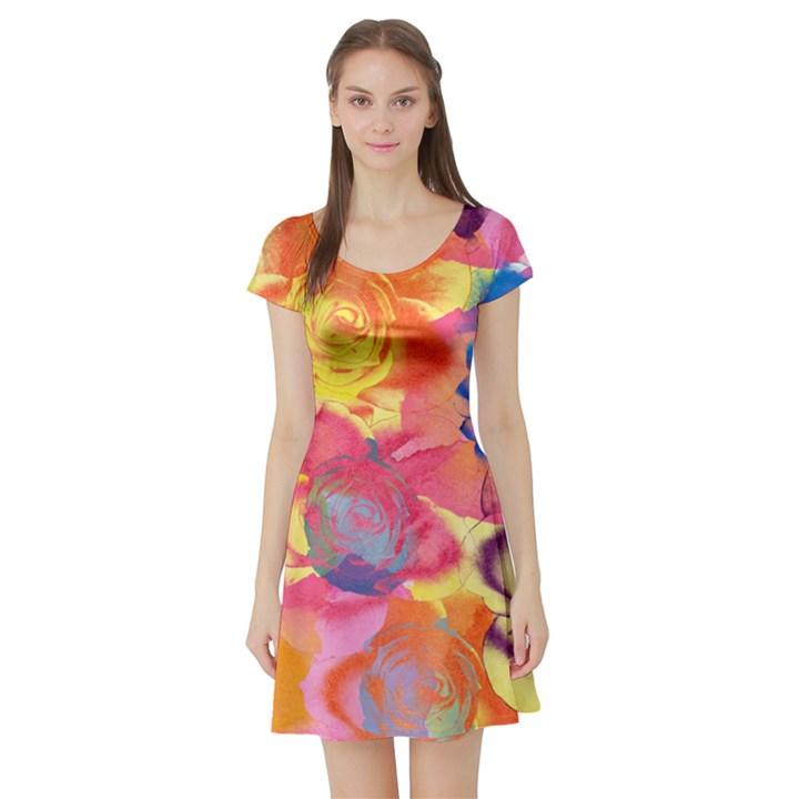 Pop Art Roses Short Sleeve Skater Dress