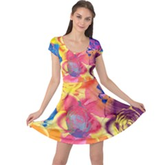 Pop Art Roses Cap Sleeve Dress