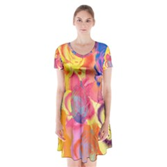 Pop Art Roses Short Sleeve V-neck Flare Dress