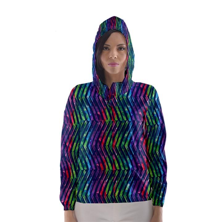 Colorful Lines Hooded Wind Breaker (Women)