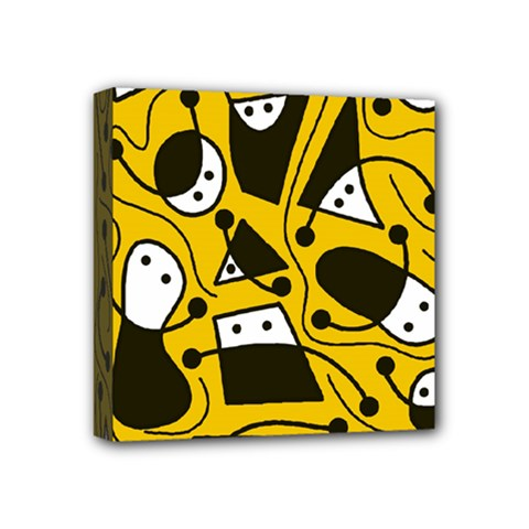 Playful abstract art - Yellow Mini Canvas 4  x 4