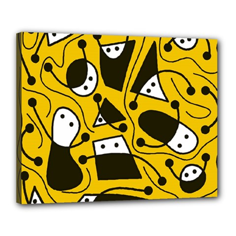 Playful abstract art - Yellow Canvas 20  x 16