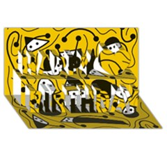 Playful abstract art - Yellow Happy Birthday 3D Greeting Card (8x4)