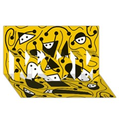 Playful abstract art - Yellow MOM 3D Greeting Card (8x4)