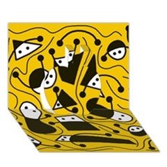 Playful abstract art - Yellow Apple 3D Greeting Card (7x5)