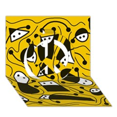 Playful abstract art - Yellow Peace Sign 3D Greeting Card (7x5)