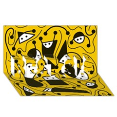 Playful abstract art - Yellow BEST SIS 3D Greeting Card (8x4)
