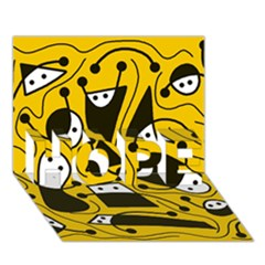 Playful abstract art - Yellow HOPE 3D Greeting Card (7x5)