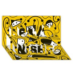 Playful abstract art - Yellow Best Wish 3D Greeting Card (8x4)