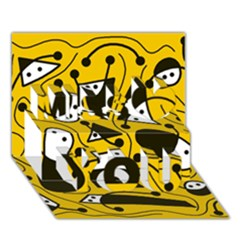 Playful abstract art - Yellow Miss You 3D Greeting Card (7x5)