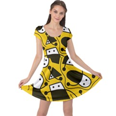Playful abstract art - Yellow Cap Sleeve Dresses