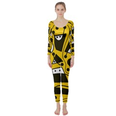 Playful abstract art - Yellow Long Sleeve Catsuit