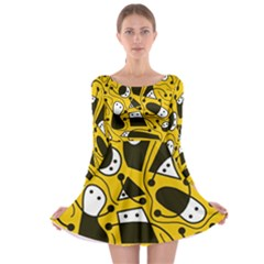 Playful abstract art - Yellow Long Sleeve Skater Dress