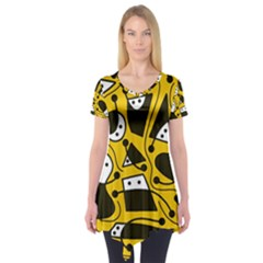 Playful abstract art - Yellow Short Sleeve Tunic
