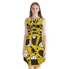 Playful abstract art - Yellow Sleeveless Chiffon Dress