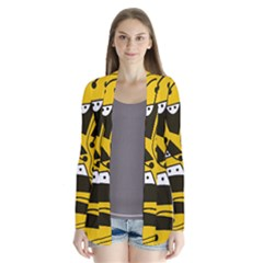 Playful abstract art - Yellow Drape Collar Cardigan