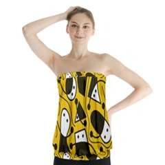 Playful abstract art - Yellow Strapless Top