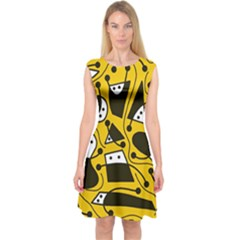 Playful Abstract Art   Yellow Capsleeve Midi Dress