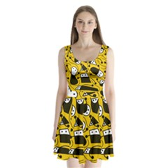 Playful Abstract Art   Yellow Split Back Mini Dress