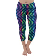 Colorful Lines Capri Winter Leggings