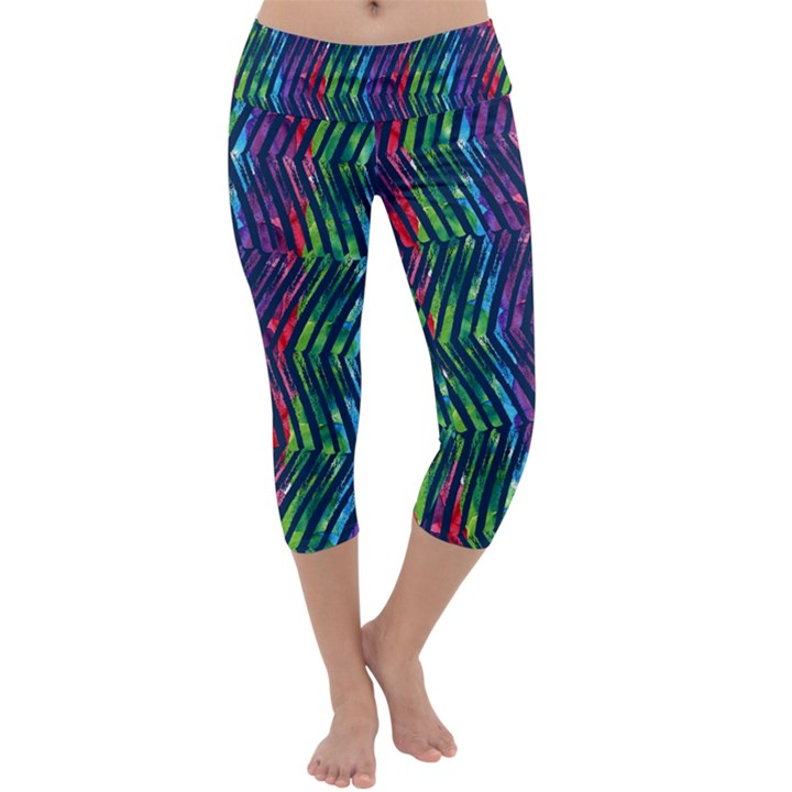 Colorful Lines Capri Yoga Leggings