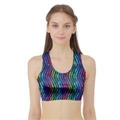 Colorful Lines Sports Bra with Border