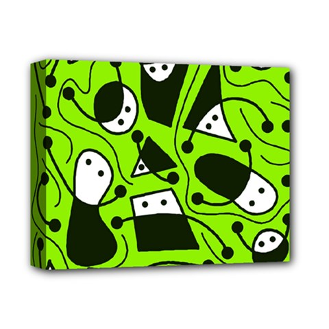 Playful abstract art - green Deluxe Canvas 14  x 11