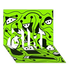 Playful abstract art - green GIRL 3D Greeting Card (7x5)