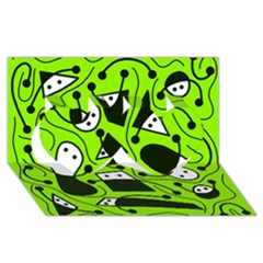 Playful abstract art - green Twin Hearts 3D Greeting Card (8x4)
