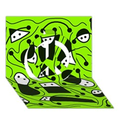 Playful abstract art - green Peace Sign 3D Greeting Card (7x5)