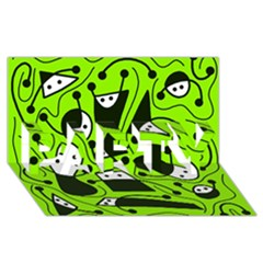 Playful abstract art - green PARTY 3D Greeting Card (8x4)
