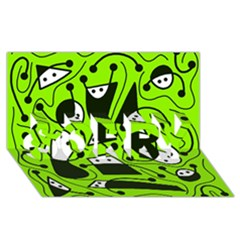 Playful abstract art - green SORRY 3D Greeting Card (8x4)