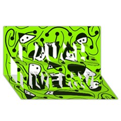 Playful abstract art - green Laugh Live Love 3D Greeting Card (8x4)