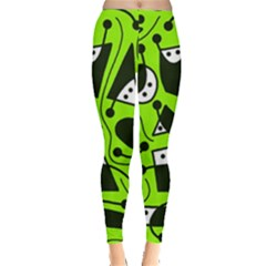 Playful abstract art - green Leggings