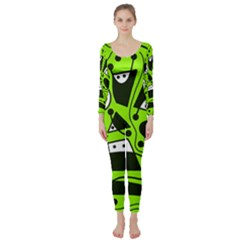 Playful abstract art - green Long Sleeve Catsuit