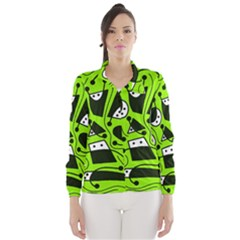 Playful abstract art - green Wind Breaker (Women)