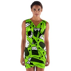 Playful Abstract Art   Green Wrap Front Bodycon Dress