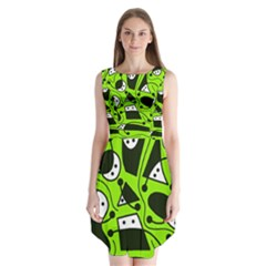 Playful Abstract Art   Green Sleeveless Chiffon Dress