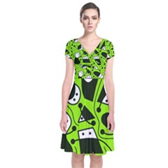 Playful abstract art - green Short Sleeve Front Wrap Dress