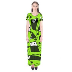 Playful abstract art - green Short Sleeve Maxi Dress