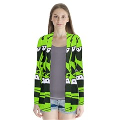 Playful Abstract Art   Green Drape Collar Cardigan