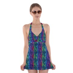 Colorful Lines Halter Swimsuit Dress