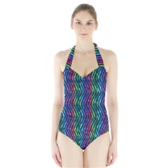 Colorful Lines Halter Swimsuit