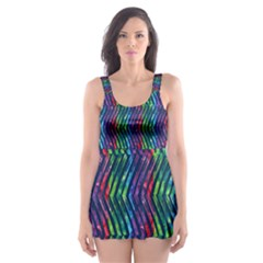 Colorful Lines Skater Dress Swimsuit