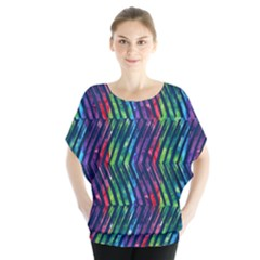 Colorful Lines Batwing Chiffon Blouse