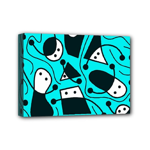 Playful abstract art - cyan Mini Canvas 7  x 5