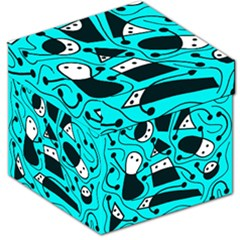Playful abstract art - cyan Storage Stool 12