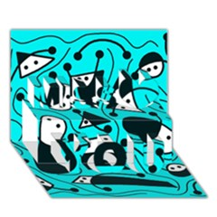 Playful abstract art - cyan Miss You 3D Greeting Card (7x5)