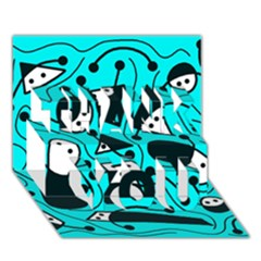 Playful abstract art - cyan THANK YOU 3D Greeting Card (7x5)